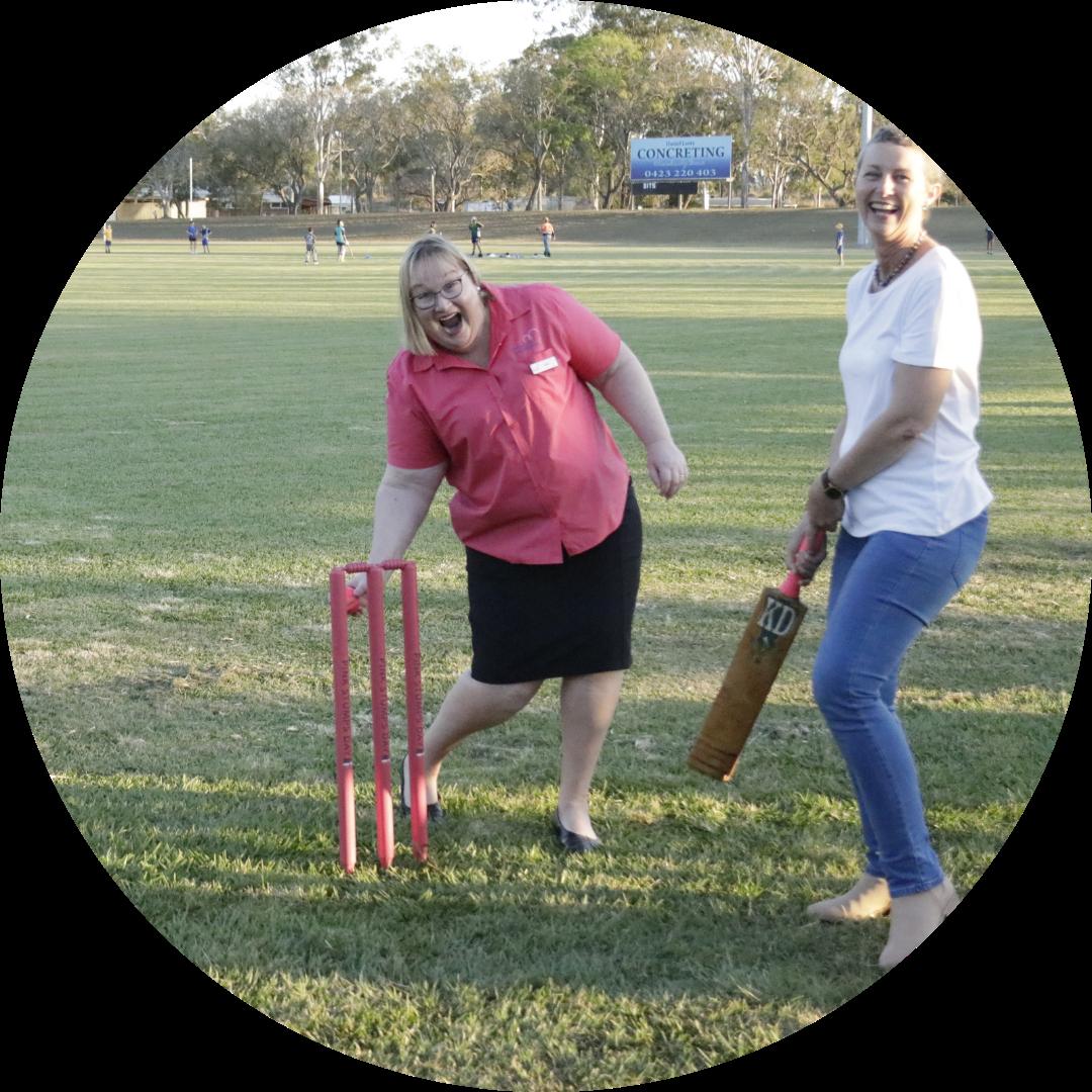 Elaine & Sally playing cricket